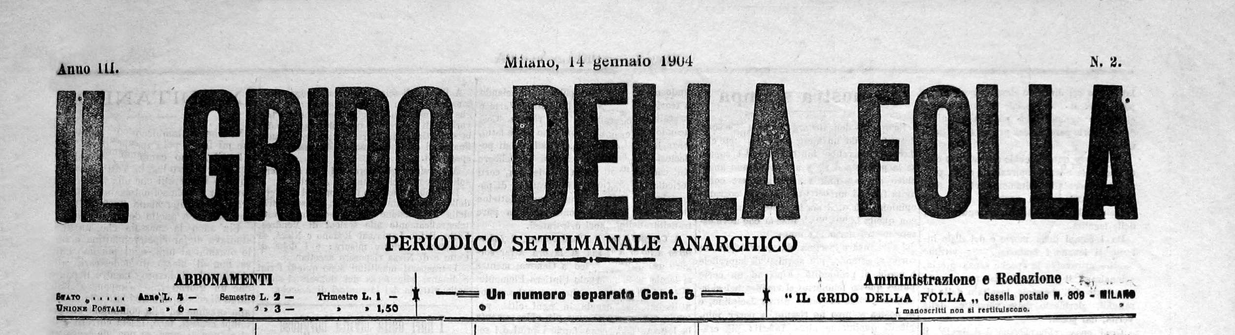 """""""Il Grido della Folla"""" periòdic on col·laborava Eugenio Girolo"""
