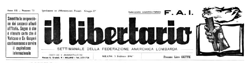 """Capçalera d'""""Il Libertario"""""""