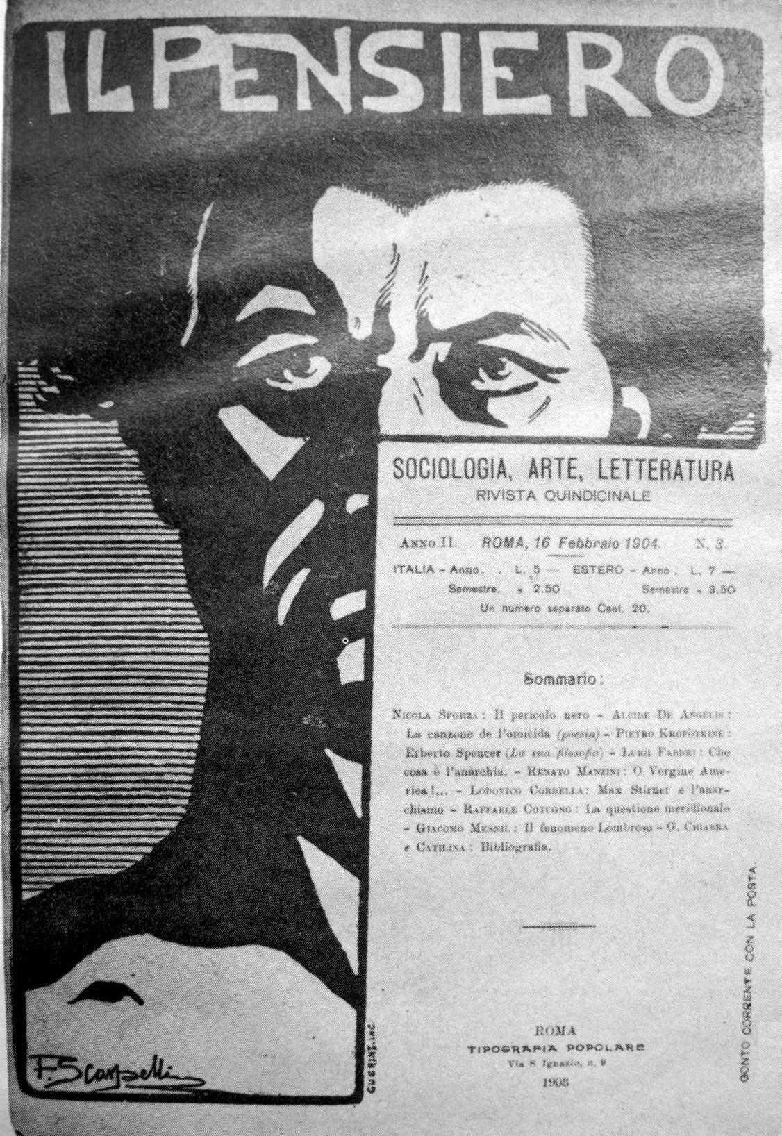 """Portada del primer número d""""Il Pensiero"""", dissenyada per Filiberto Scarpelli"""