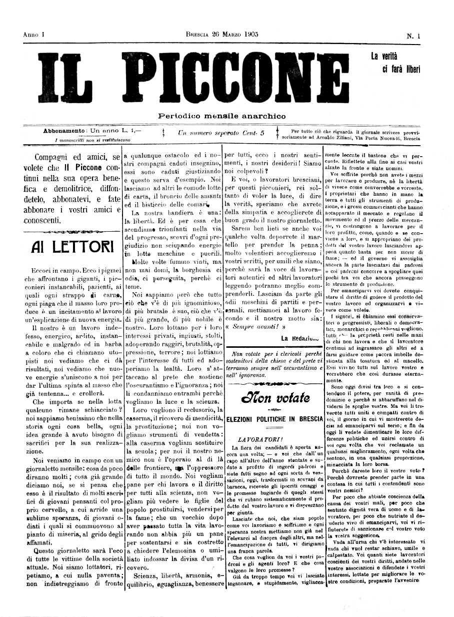 "Portada del primer número d'""Il Piccone"""