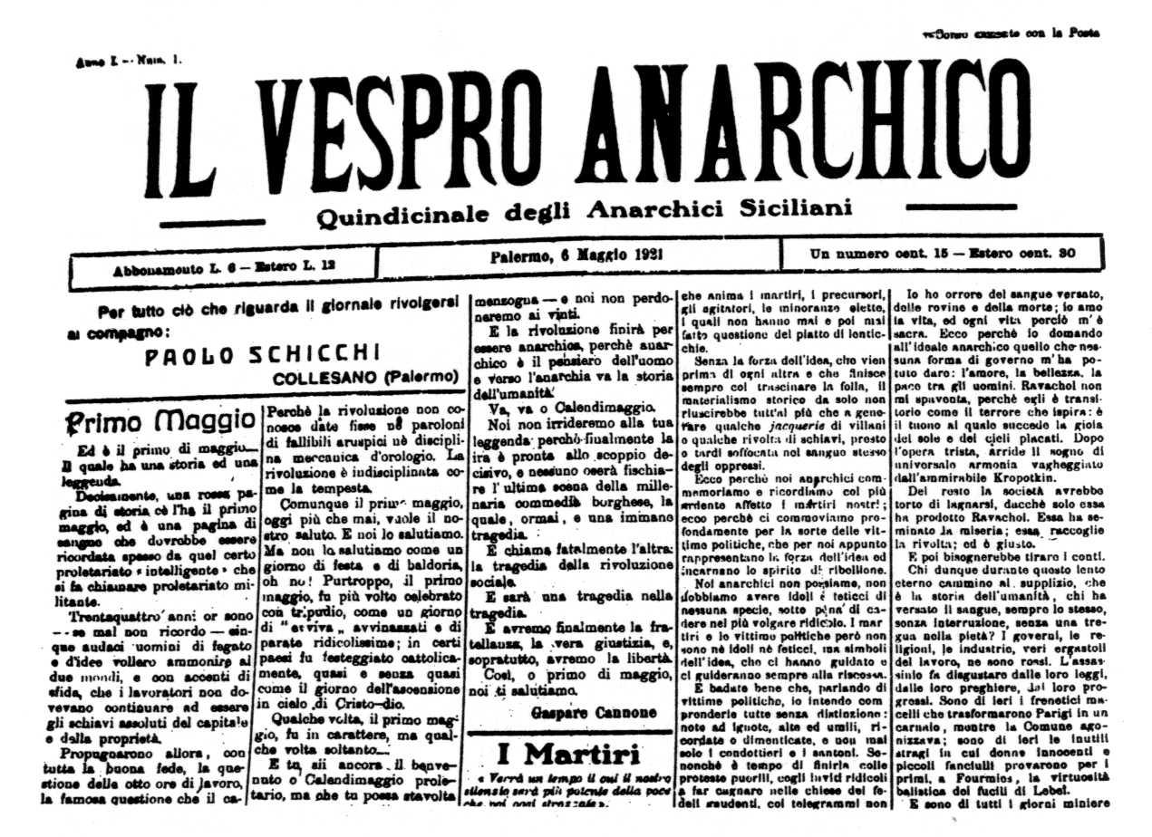"""Capçalera d'""""Il Vespro Anarchico"""""""