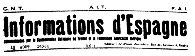 """Capçalera del primer número d'""""Informations d'Espagne"""""""