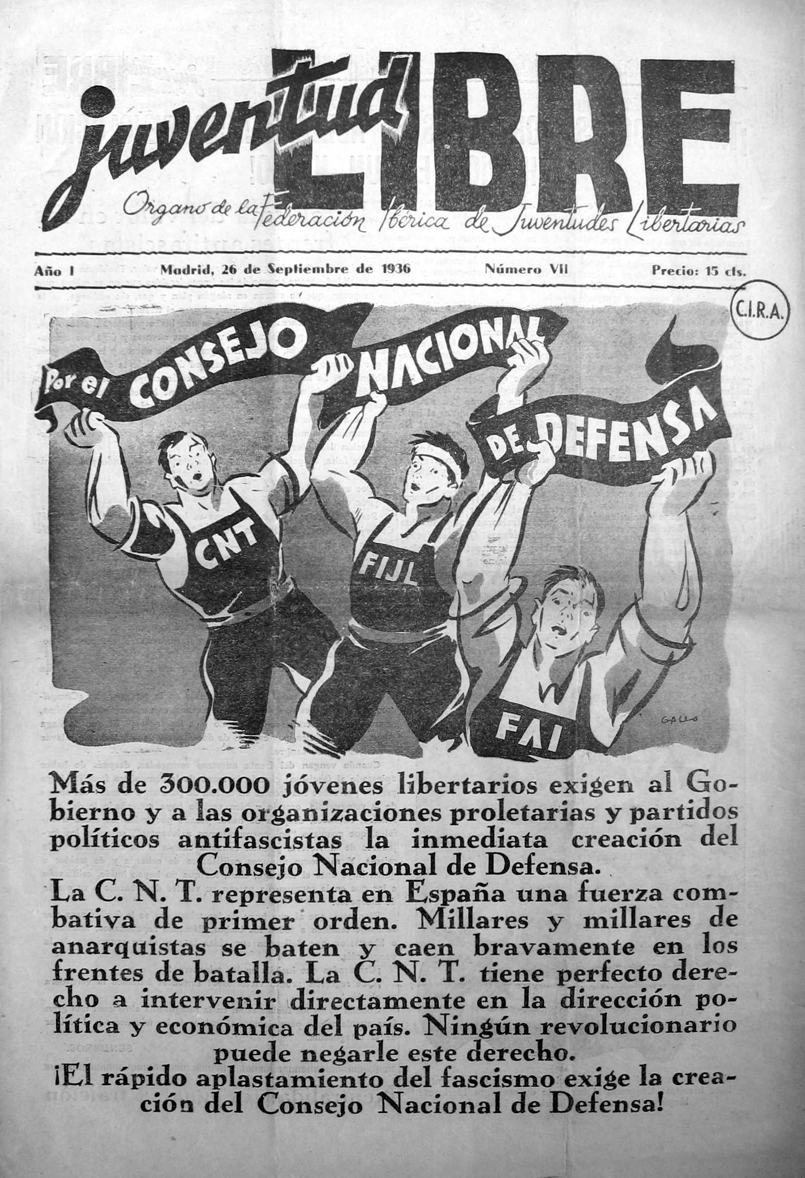 "Portada d'un número de ""Juventud Libre"" [CIRA-Lausana]"
