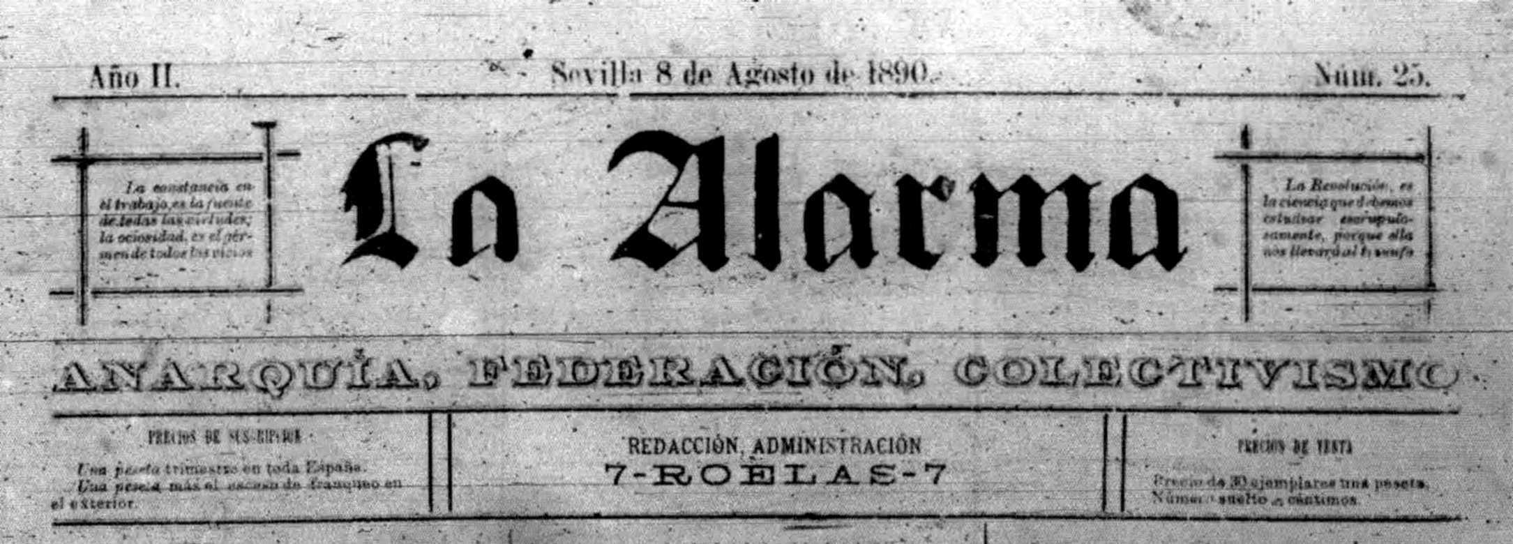 """Capçalera de l'últim número conegut de """"La Alarma"""""""