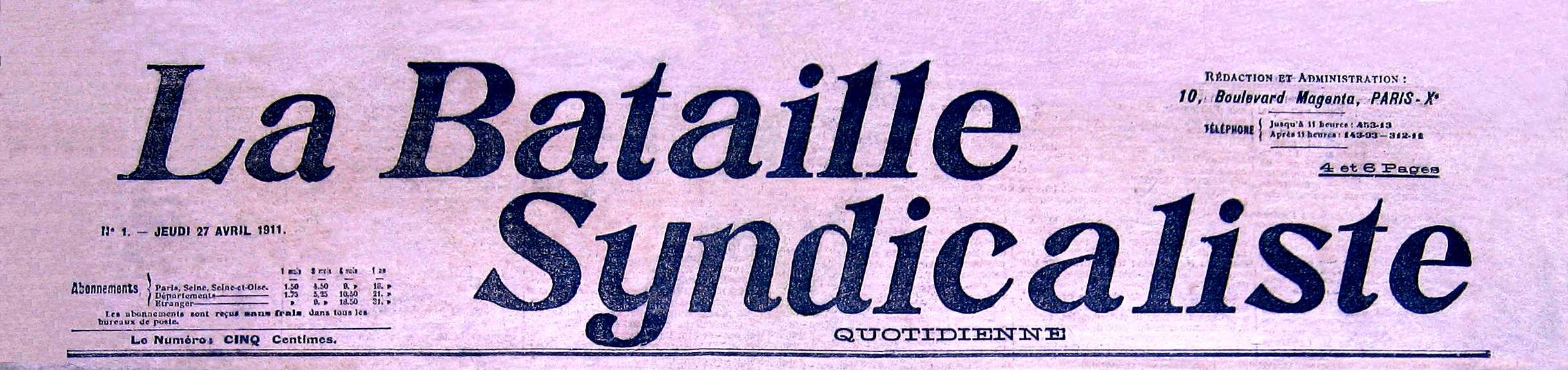 """Capçalera de """"La Bataille Syndicaliste"""""""