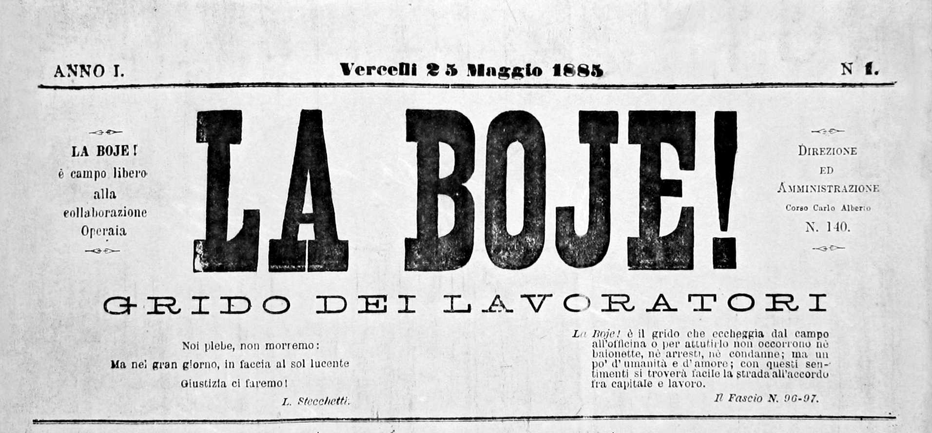 """Capçalera del primer número de """"La Boje!"""" [CIRA-Lausana] Foto: Éric B. Coulaud"""