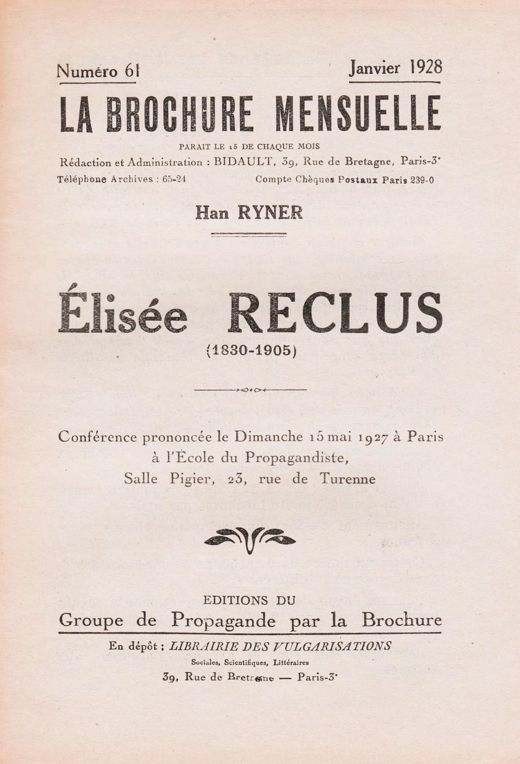 """Un exemplar de """"La Brochure Mensuelle"""""""