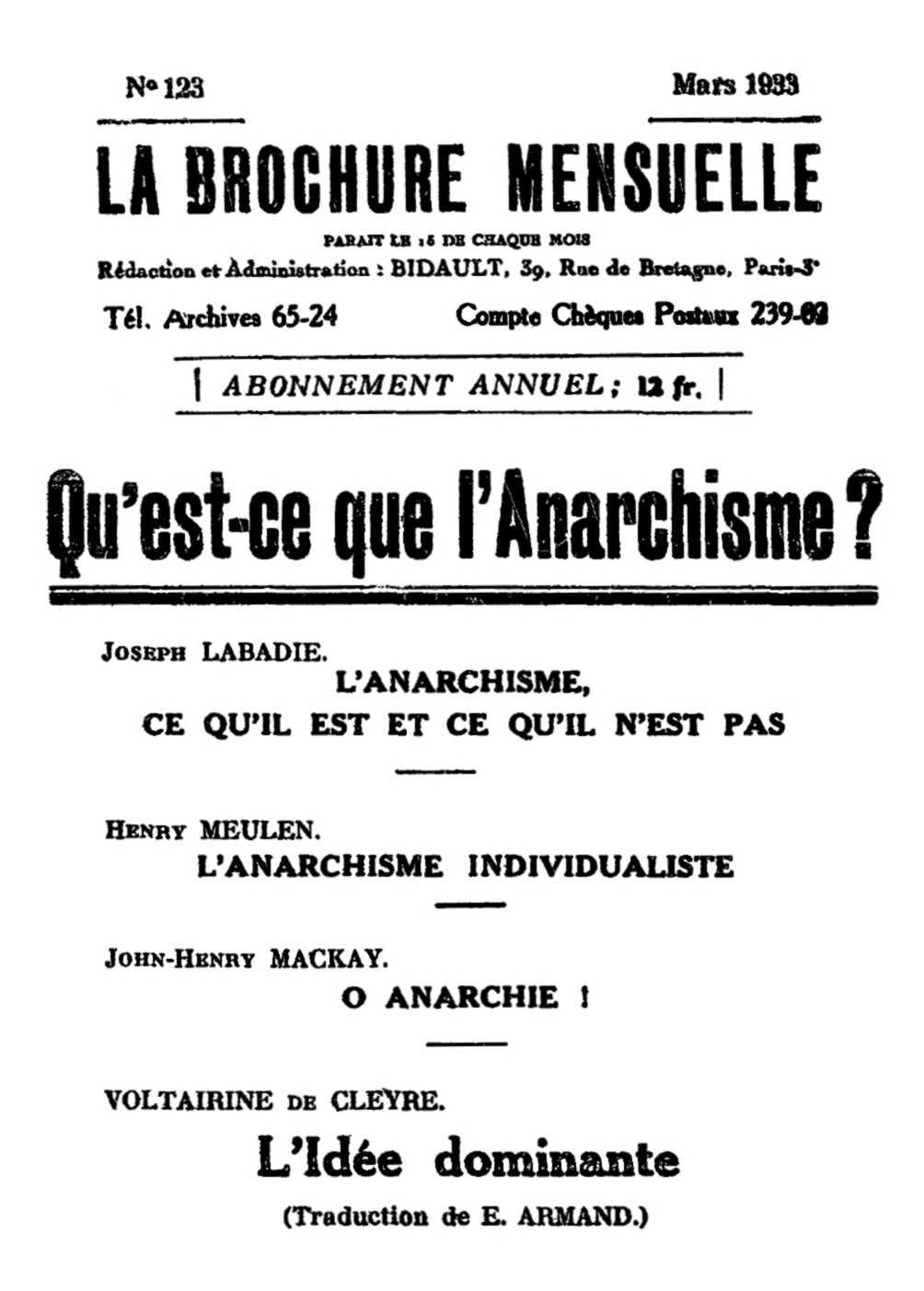 """""""La Brochure Mensuelle"""", editado por Émile Bidault"""