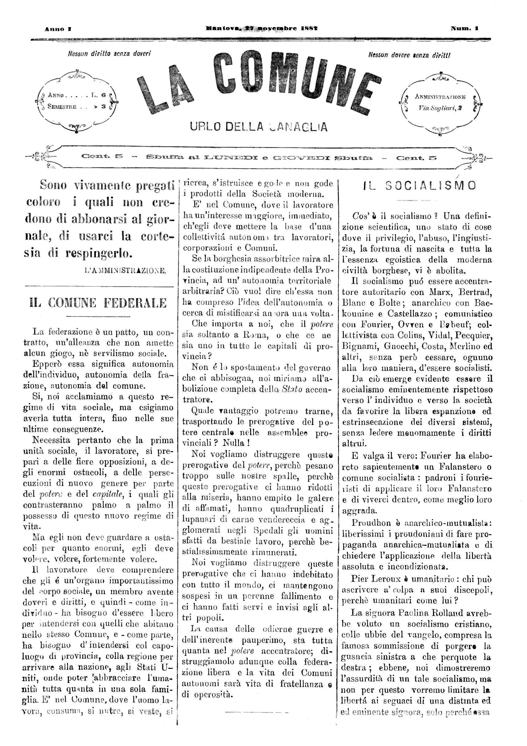 """Portada del primer número de """"La Comune"""""""