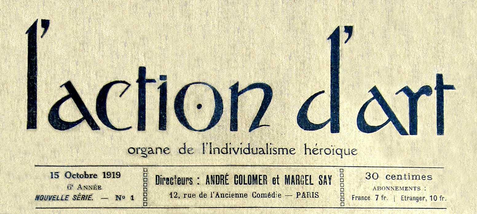 """Capçalera del primer número """"L'Action d'Art"""" [CIRA-Lausana] Foto: Éric B. Coulaud"""