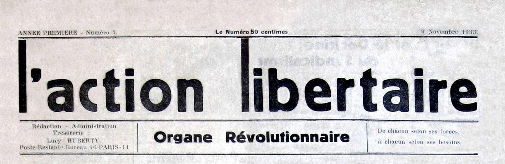 """Capçalera del primer número de """"L'Action Libertaire"""" [CIRA-Lausana. Foto Éric B. Coulaud]"""