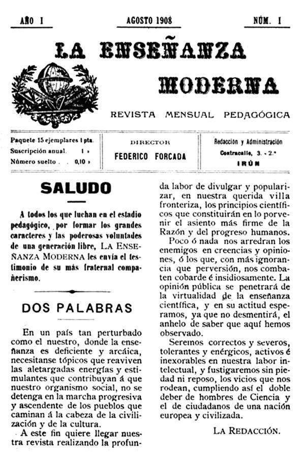 """Portada del primer número de """"La Enseñanza Moderna"""""""