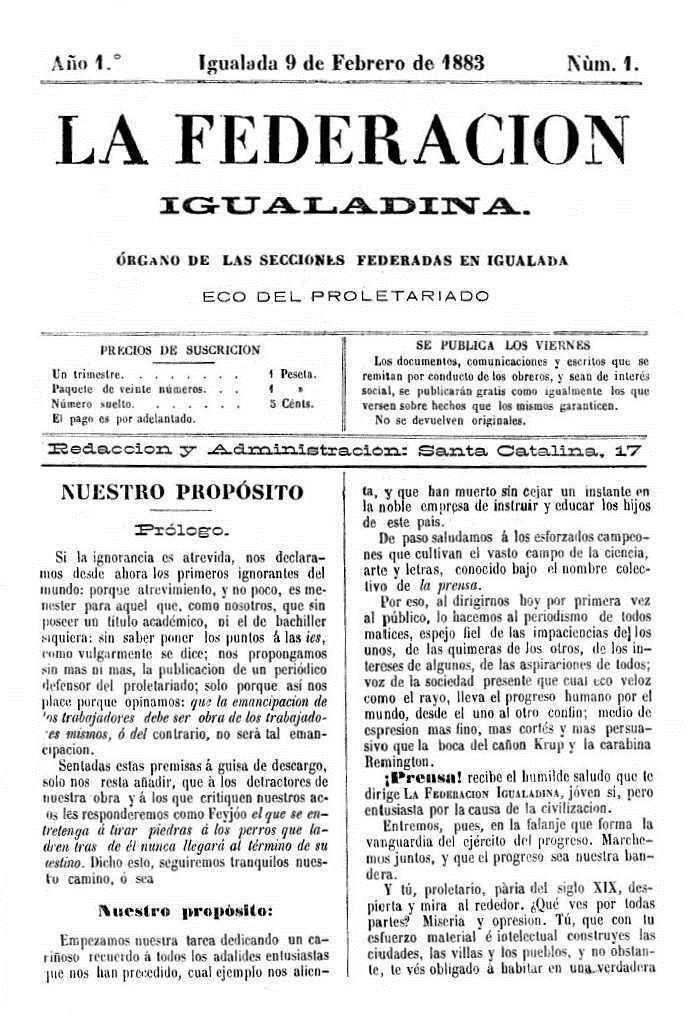 """Portada del primer número de """"La Federación Igualadina"""""""