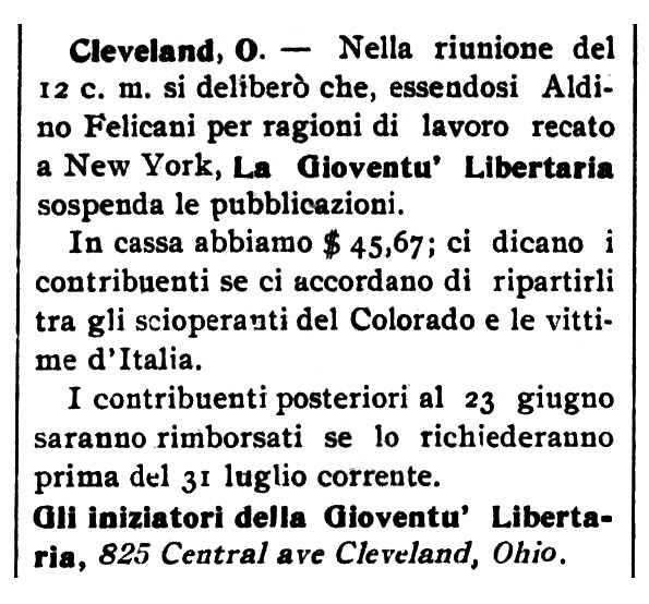 """Notícia sobre la suspensió de """"La Gioventù Libertaria"""" apareguda en el periòdic de Barre (Vermont, EUA) """"Cronaca Sovversiva"""" del 18 de juliol de 1914"""