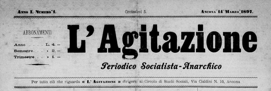 "Capçalera del primer número de ""L'Agitazione"""