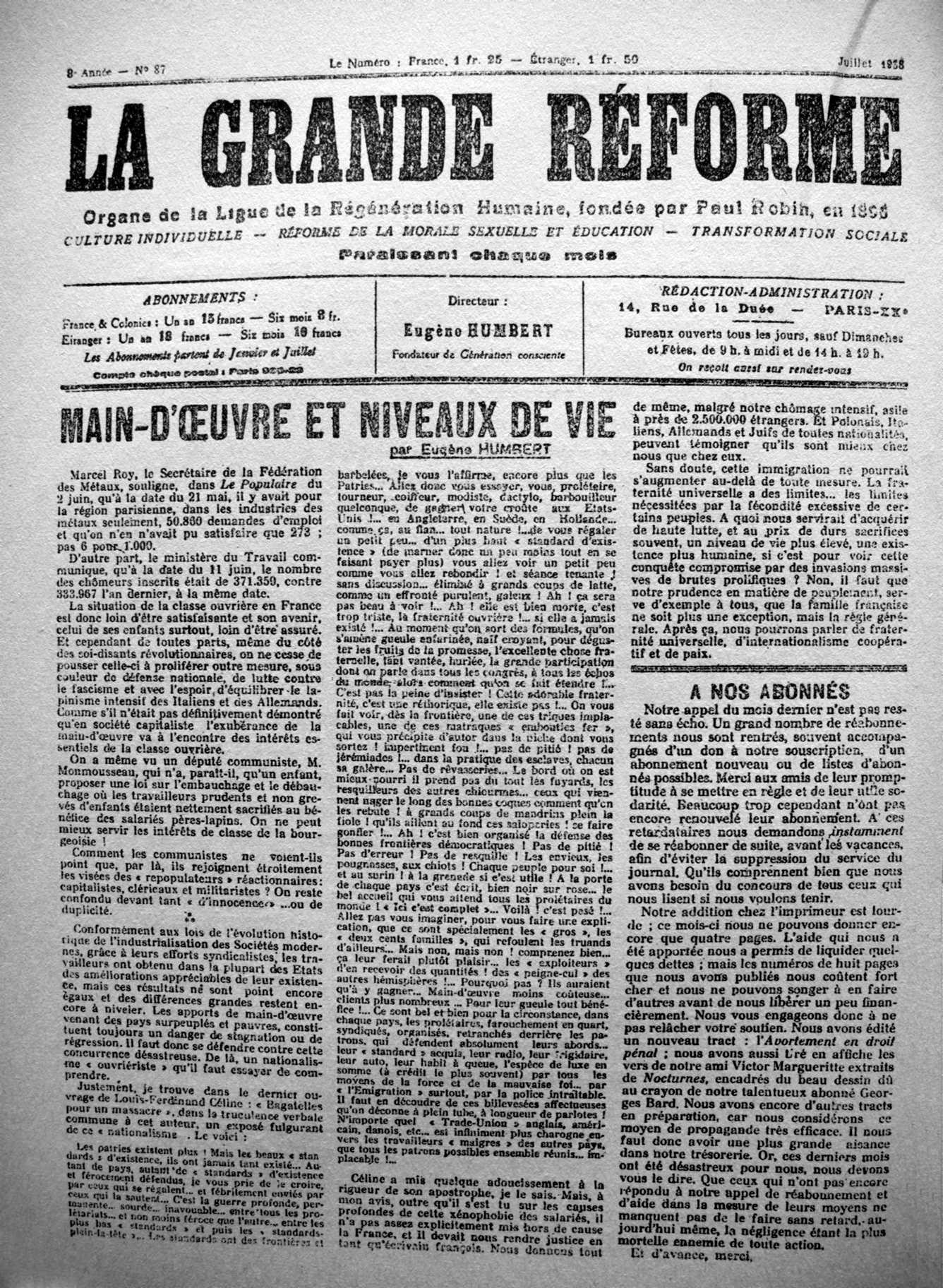 """Portada d'un exemplar de """"La Grande Réforme"""""""