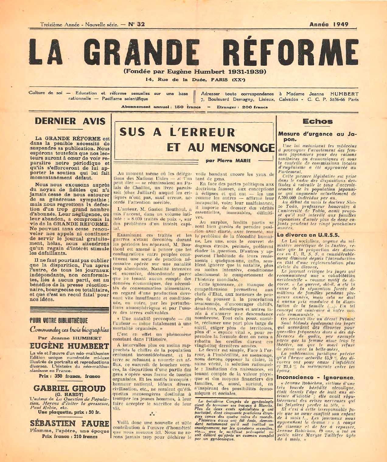 """Portada de l'últim número de """"La Grande Réforme"""""""
