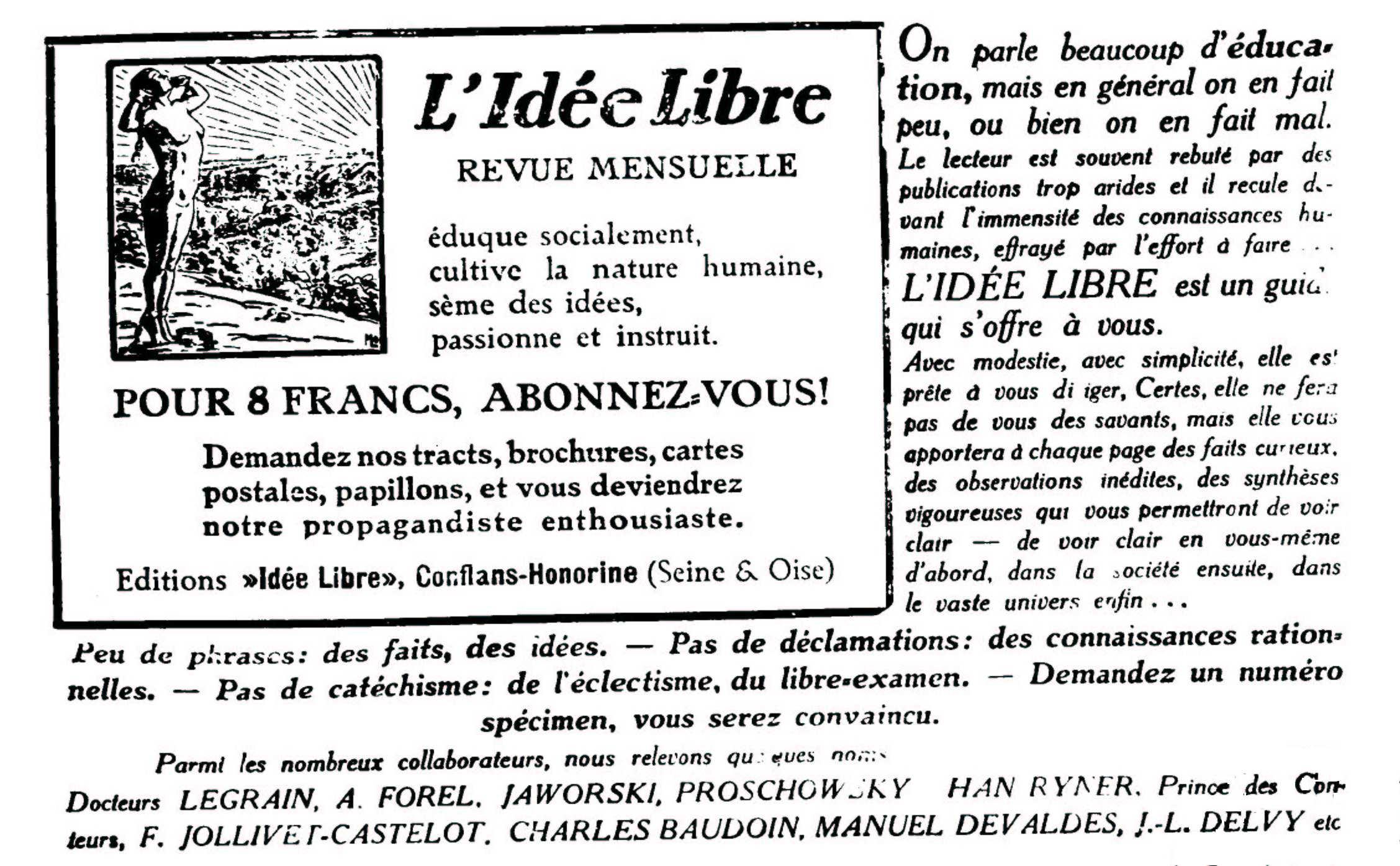 """Nota de propaganda de """"L'Idée Libre"""""""