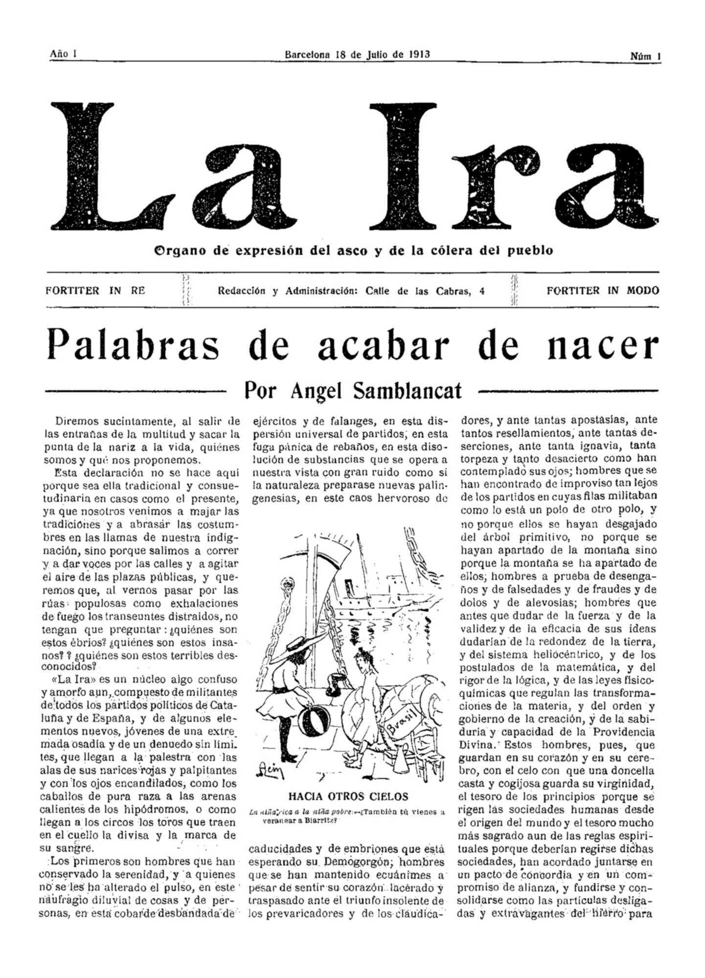 """Portada del primer número de """"La Ira"""""""