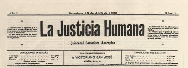 """Capçalera del primer número de """"La Justicia Humana"""""""