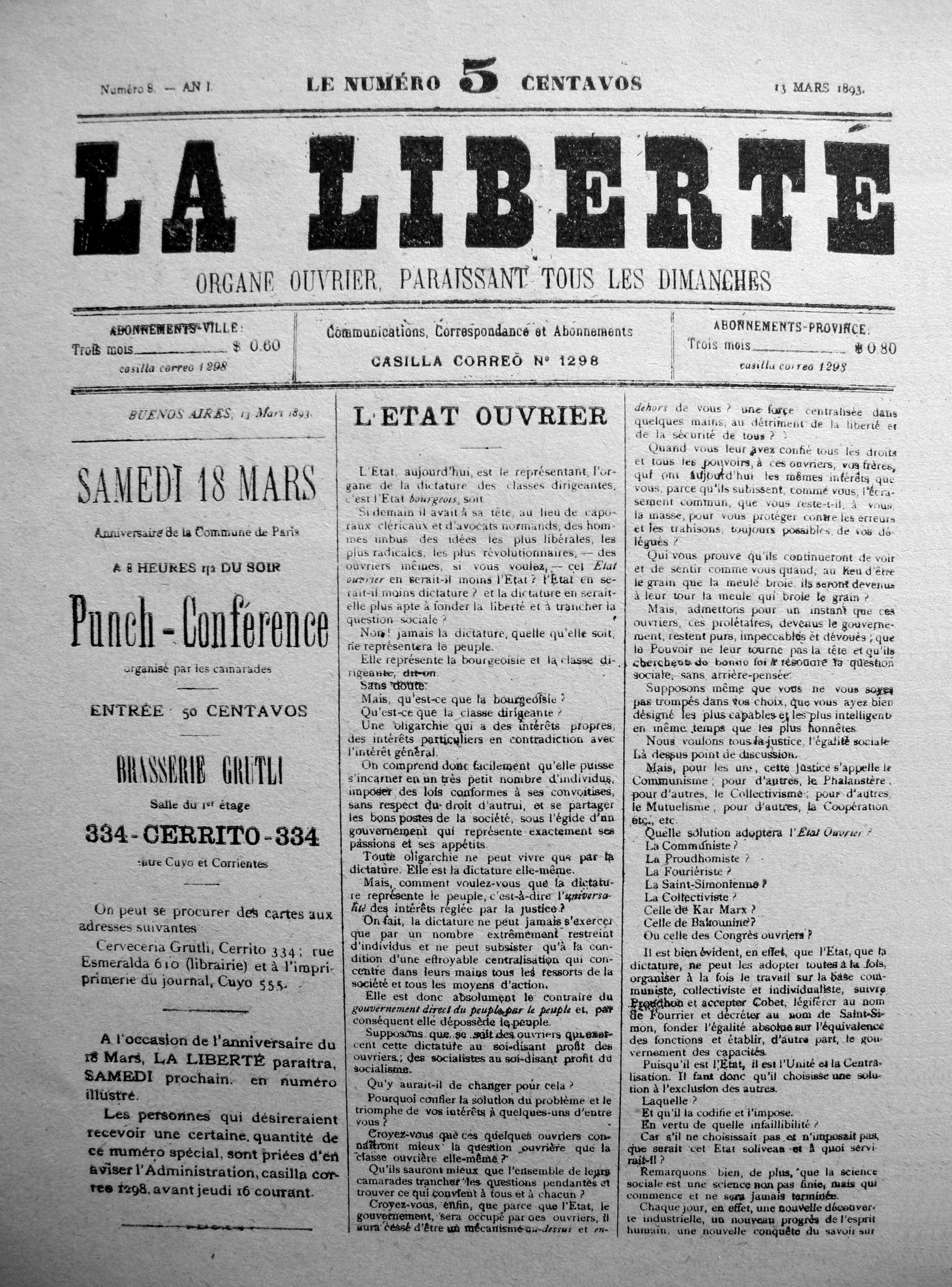 """Portada d'un número de """"La Liberté"""""""