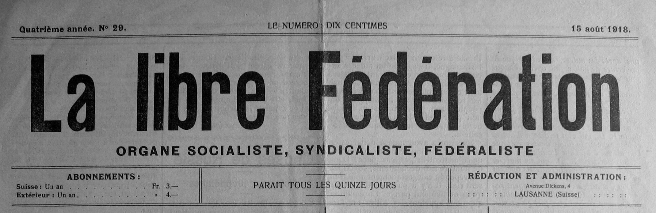 """Capçalera de """"La Libre Fédération"""""""