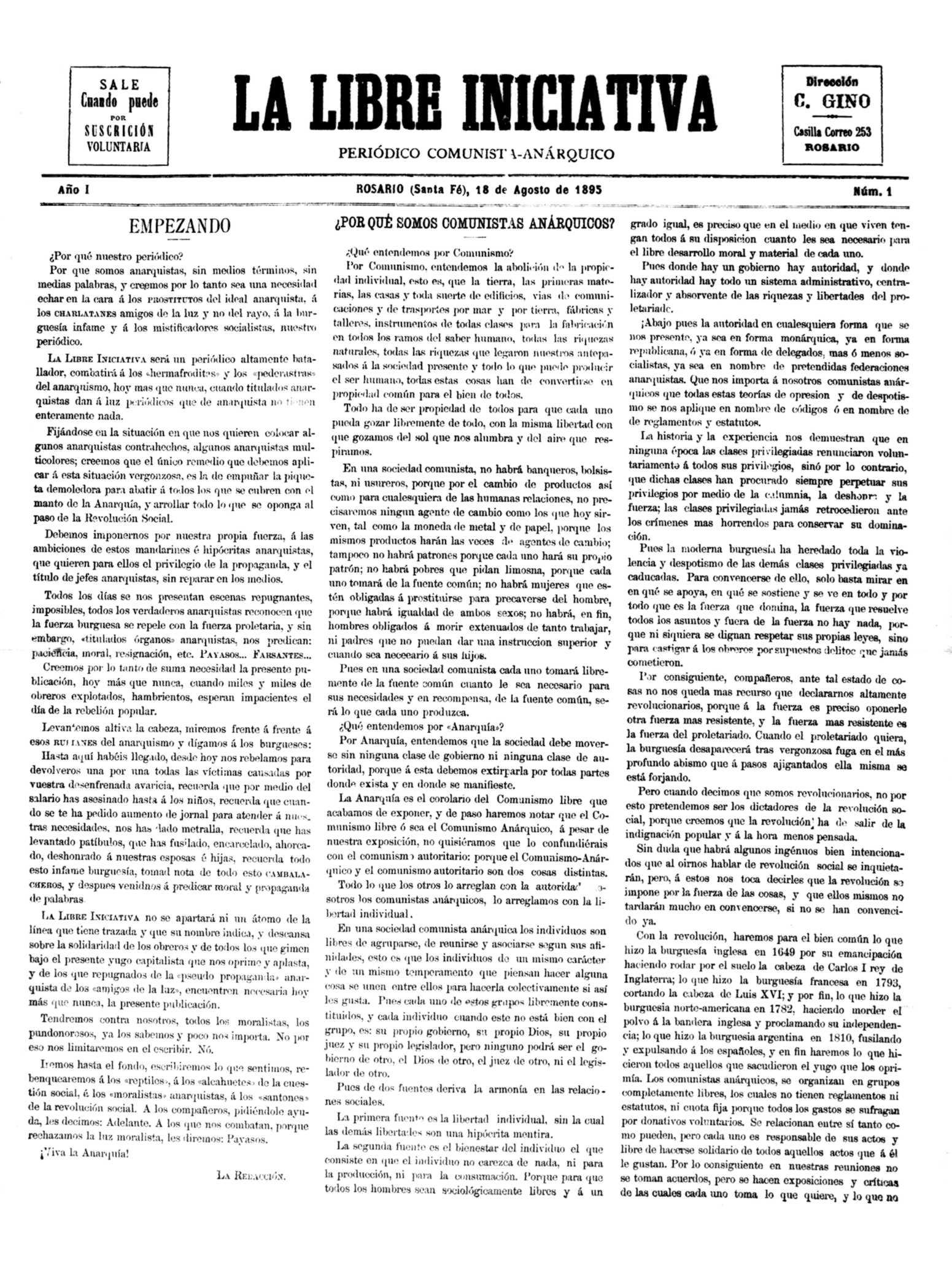 """Portada del primer número de """"La Libre Iniciativa"""""""
