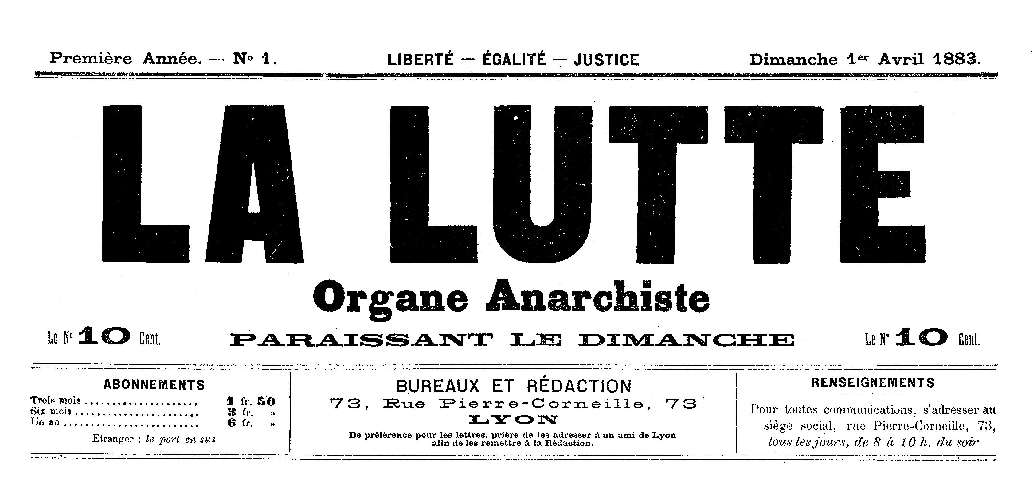 "Capçalera del primer número de ""La Lutte"""