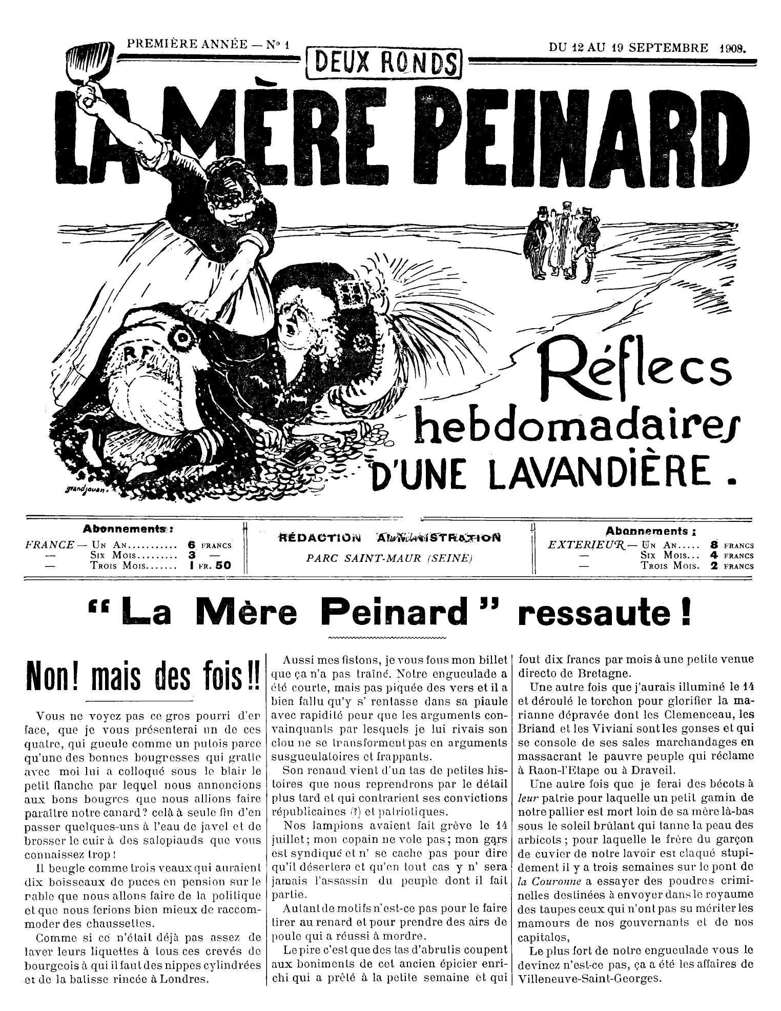 """Portada del primer número de """"La Mère Peinard"""""""