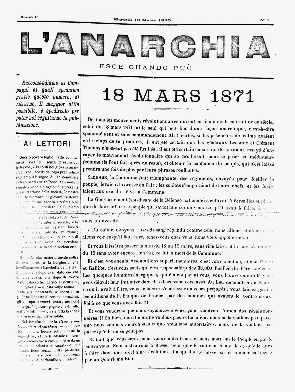 """Portada del primer número de """"L'Anarchia"""""""