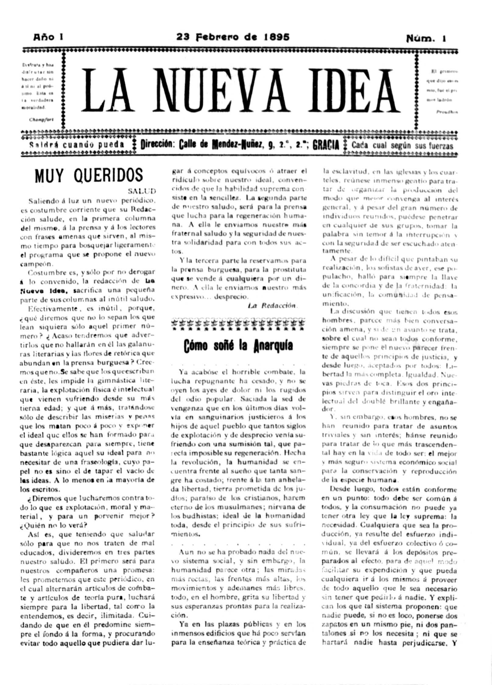 """Portada del primer número de """"La Nueva Idea"""""""