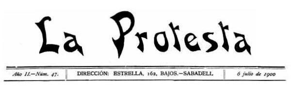 """Capçalera de l'edició de Sabadell de """"La Protesta"""""""