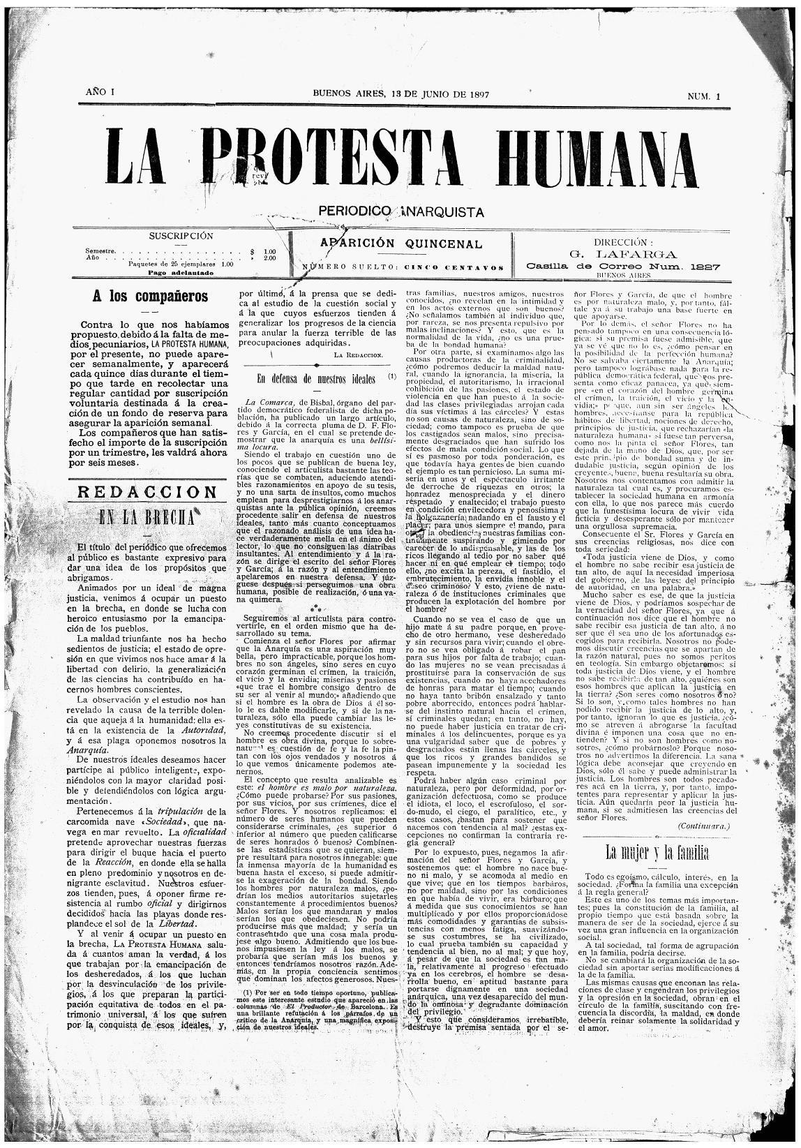 """Primera pàgina del primer número de """"La Protesta Humana"""""""