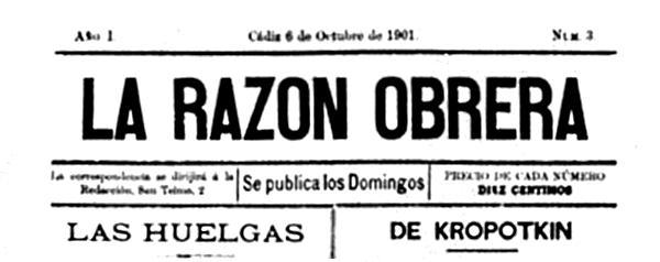 """Capçalera de """"La Razón Obrera"""""""