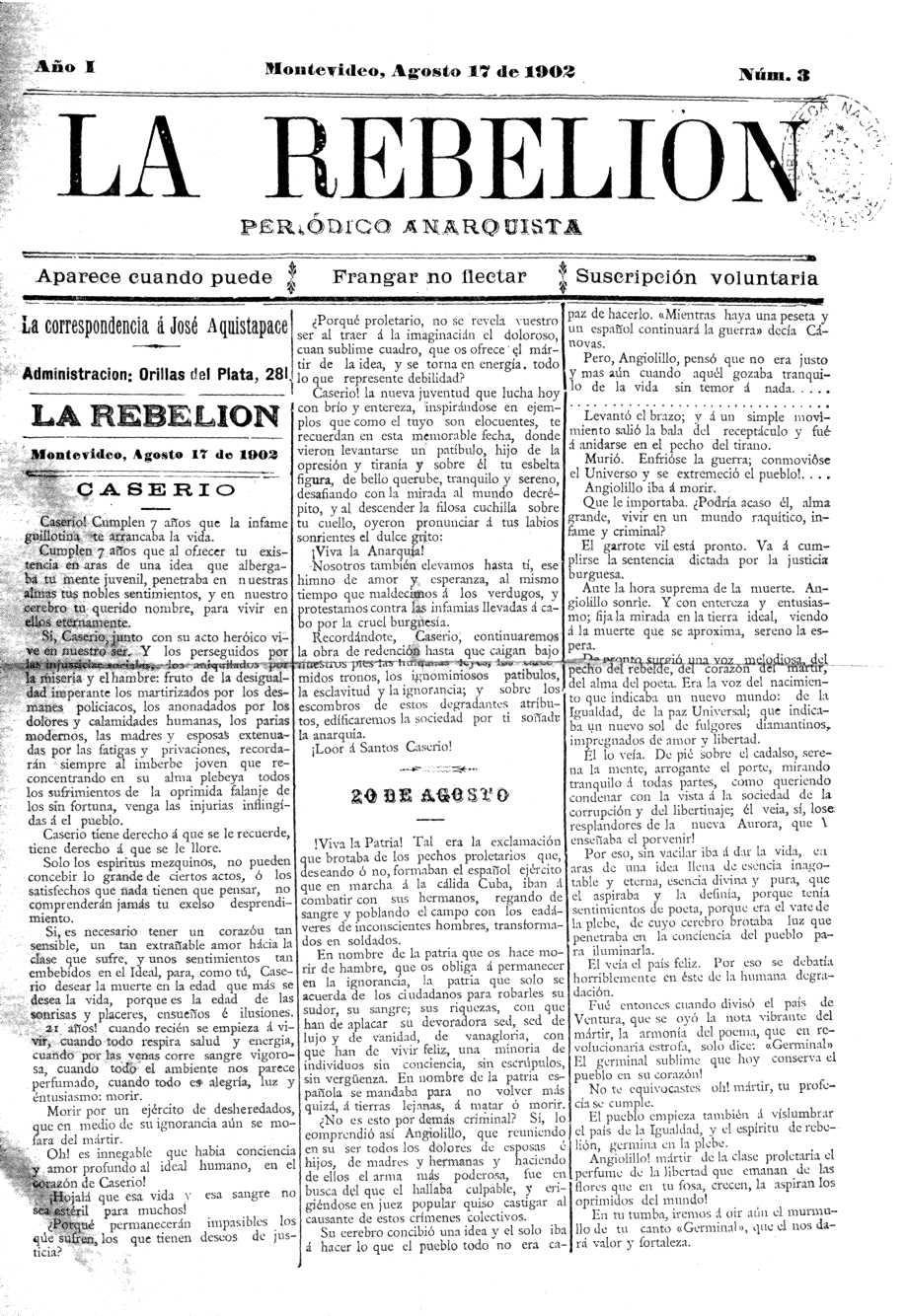 """Portada d'un exemplar de """"La Rebelión"""""""