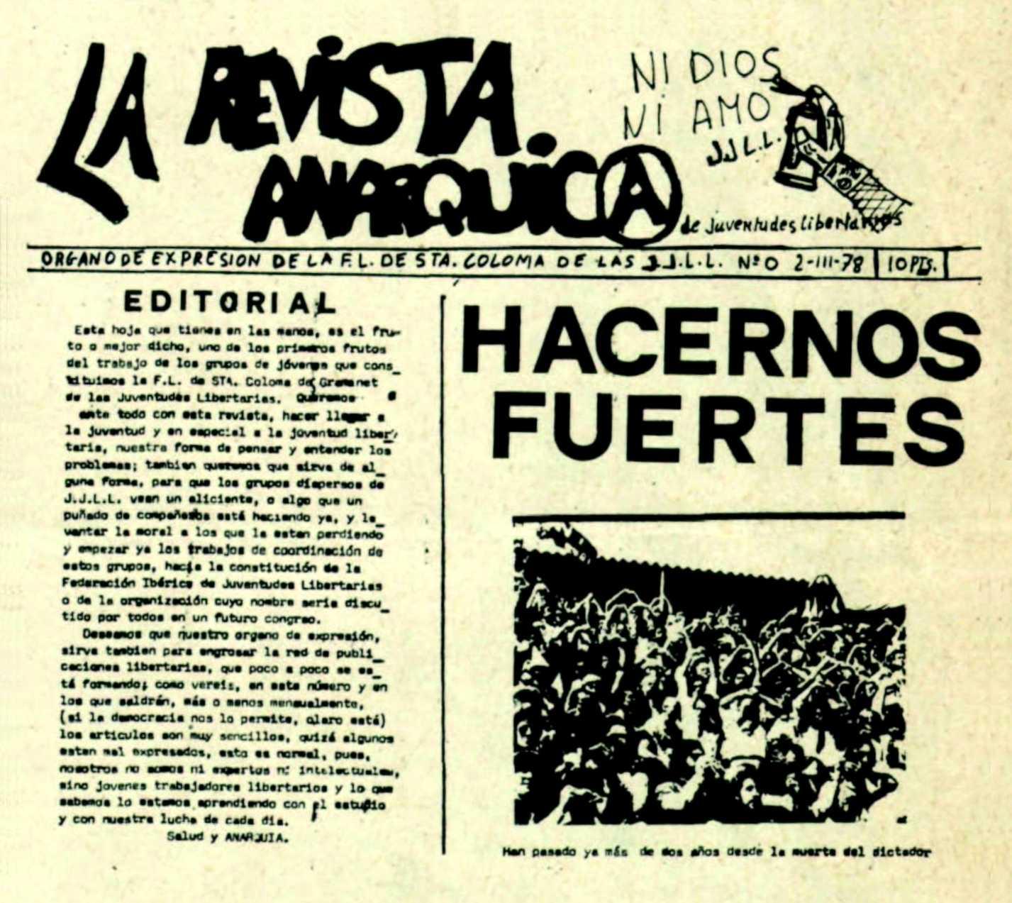 """Capçalera del número 0 de """"La Revista Anárquica"""""""