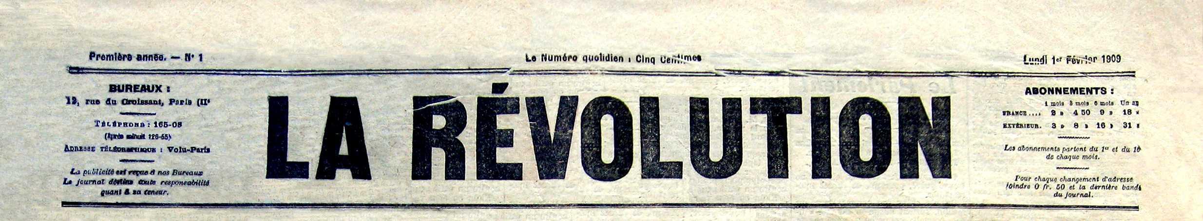 """Capçalera del primer número de """"La Révolution"""""""