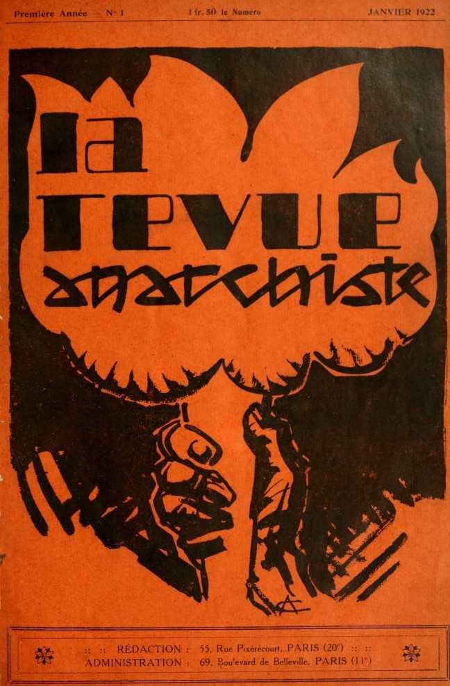 """Portada del primer número de """"La Revue Anarchiste"""""""