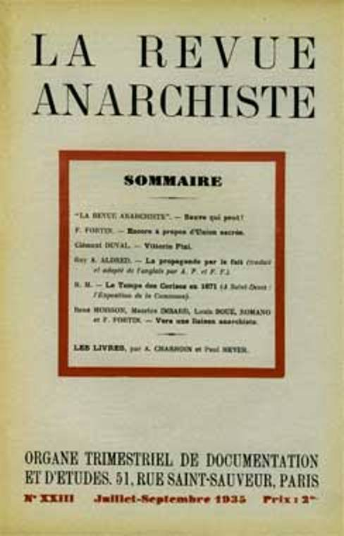 "Portada d'un número de ""La Revue Anarchiste"""