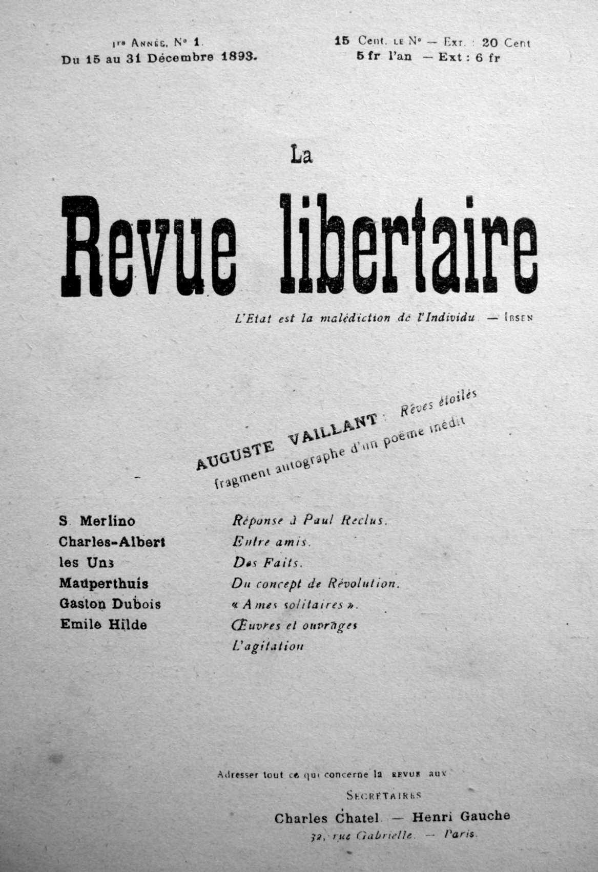 """Portada del primer número de """"La Revue Libertaire"""""""