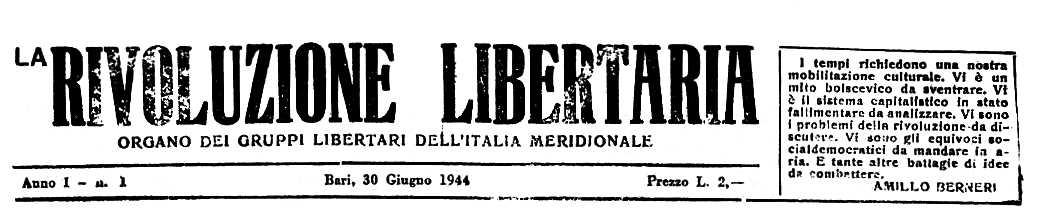 """Capçalera del primer número de """"La Rivoluzione Libertaria"""""""