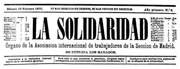 """Capçalera de """"La Solidaridad"""""""