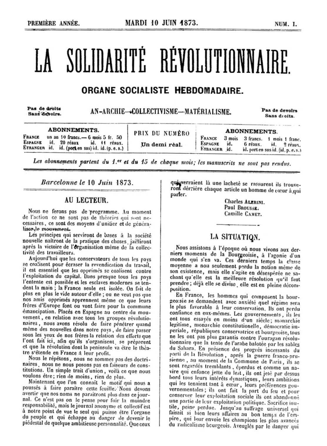 """Portada del primer número de """"La Solidarité Révolutionnaire"""""""