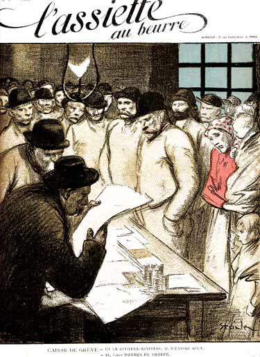 """Portada del primer número de """"L'Assiette au Beurre"""" [Caixa de resistència de vaga: I el ministres, que no envia res? Sí, 3.000 soldats de tropa]"""