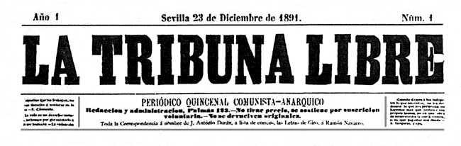 """Capçalera del primer número de """"La Tribuna Libre"""""""