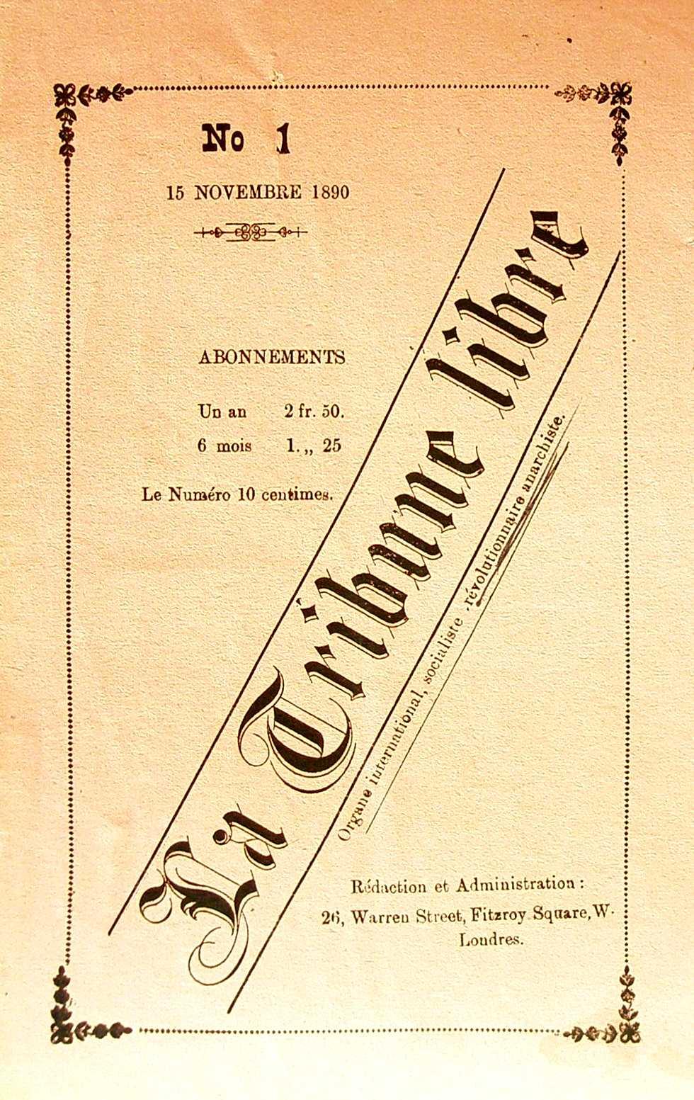 """Portada del primer número de """"La Tribune Libre"""""""
