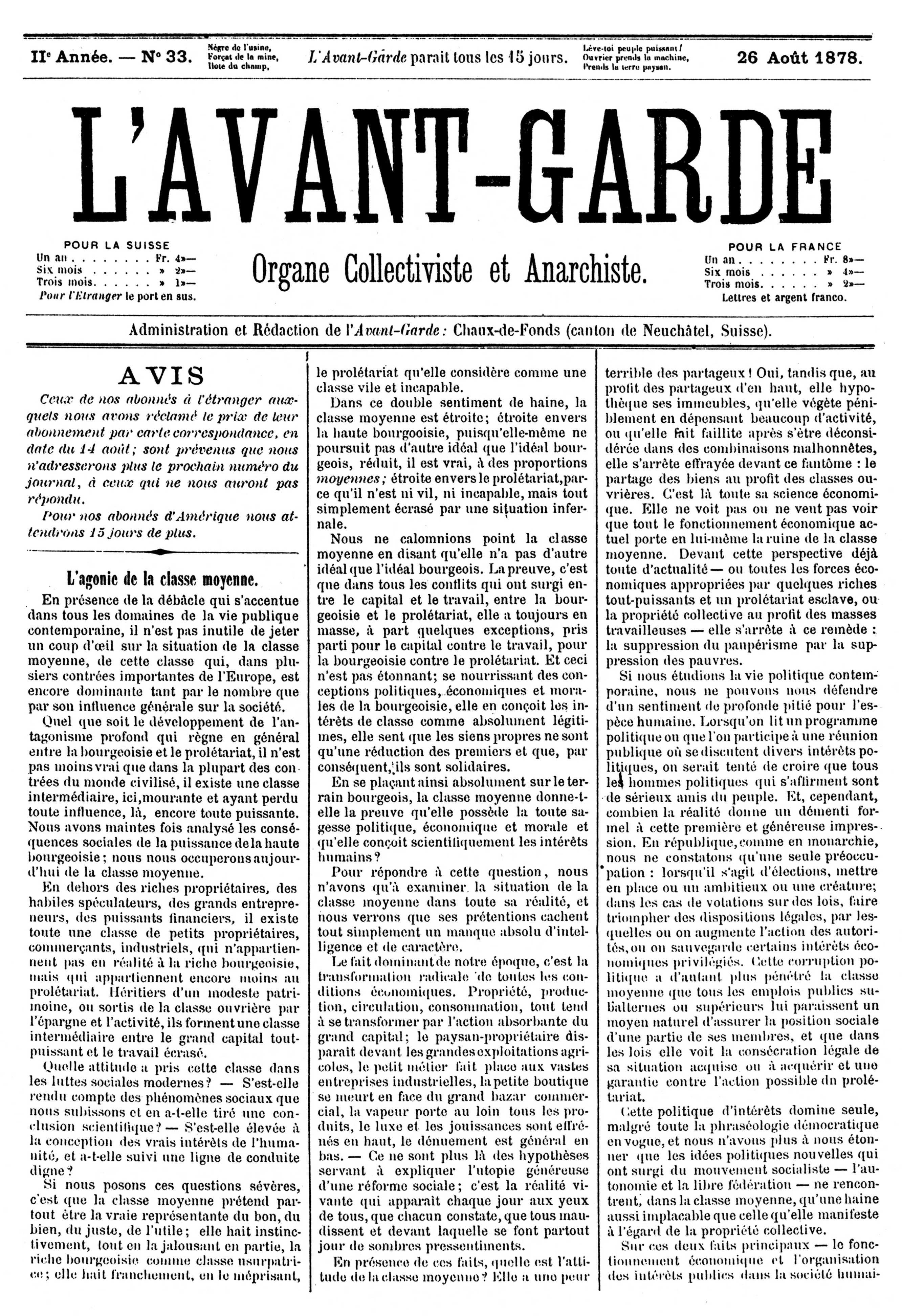 """Capçalera de """"L'Avant-Garde"""""""