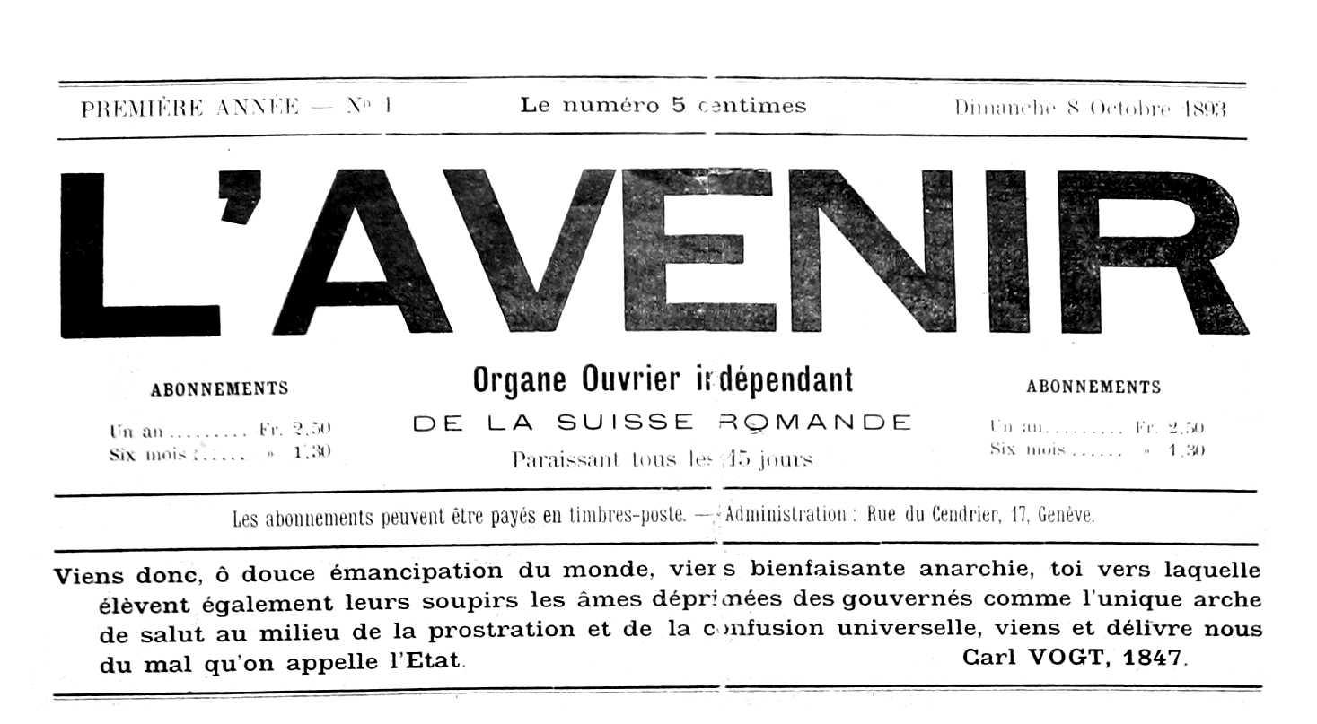 """Capçalera de """"L'Avenir"""""""