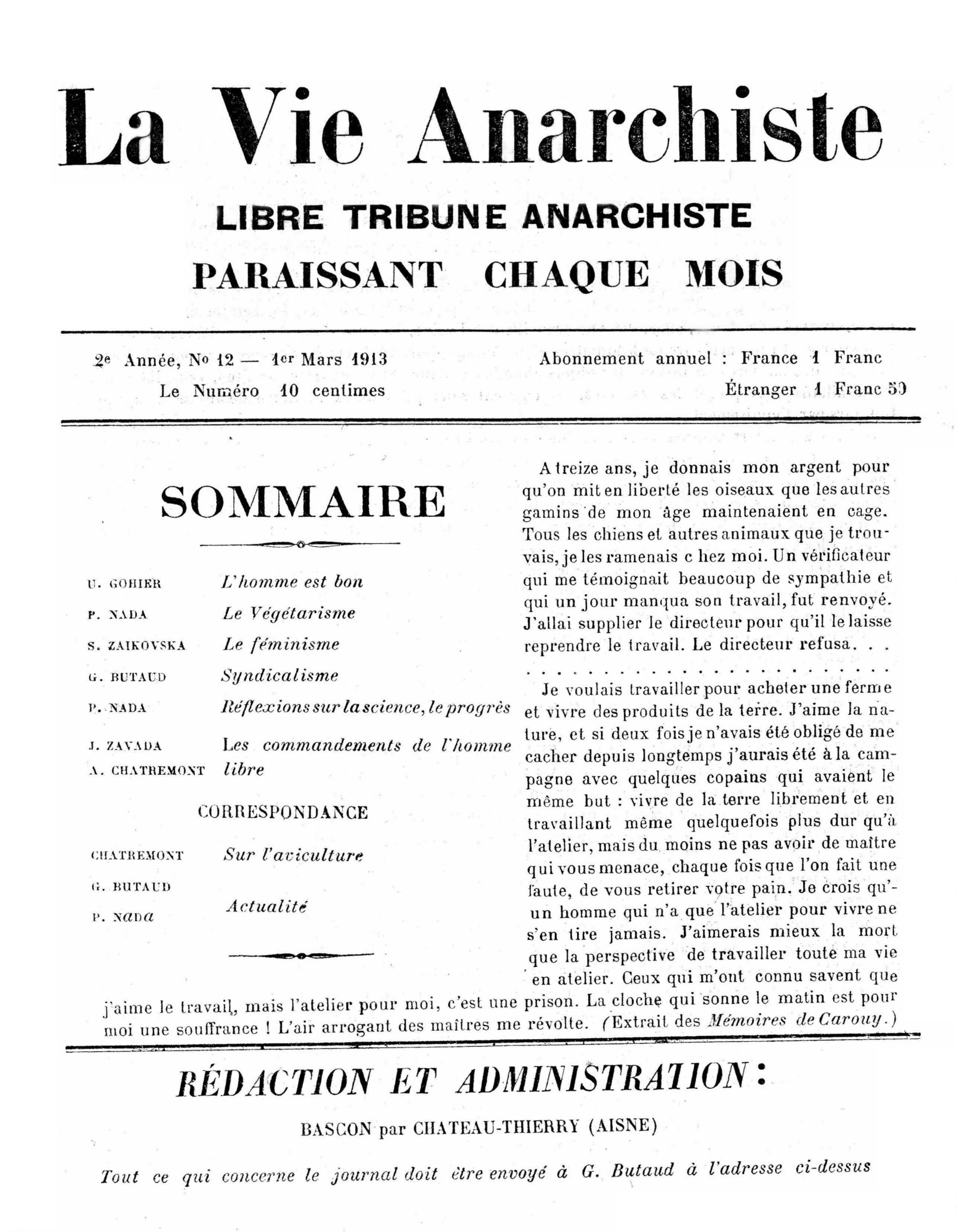 "Portada d'un exemplar de ""La Vie Anarchiste"""