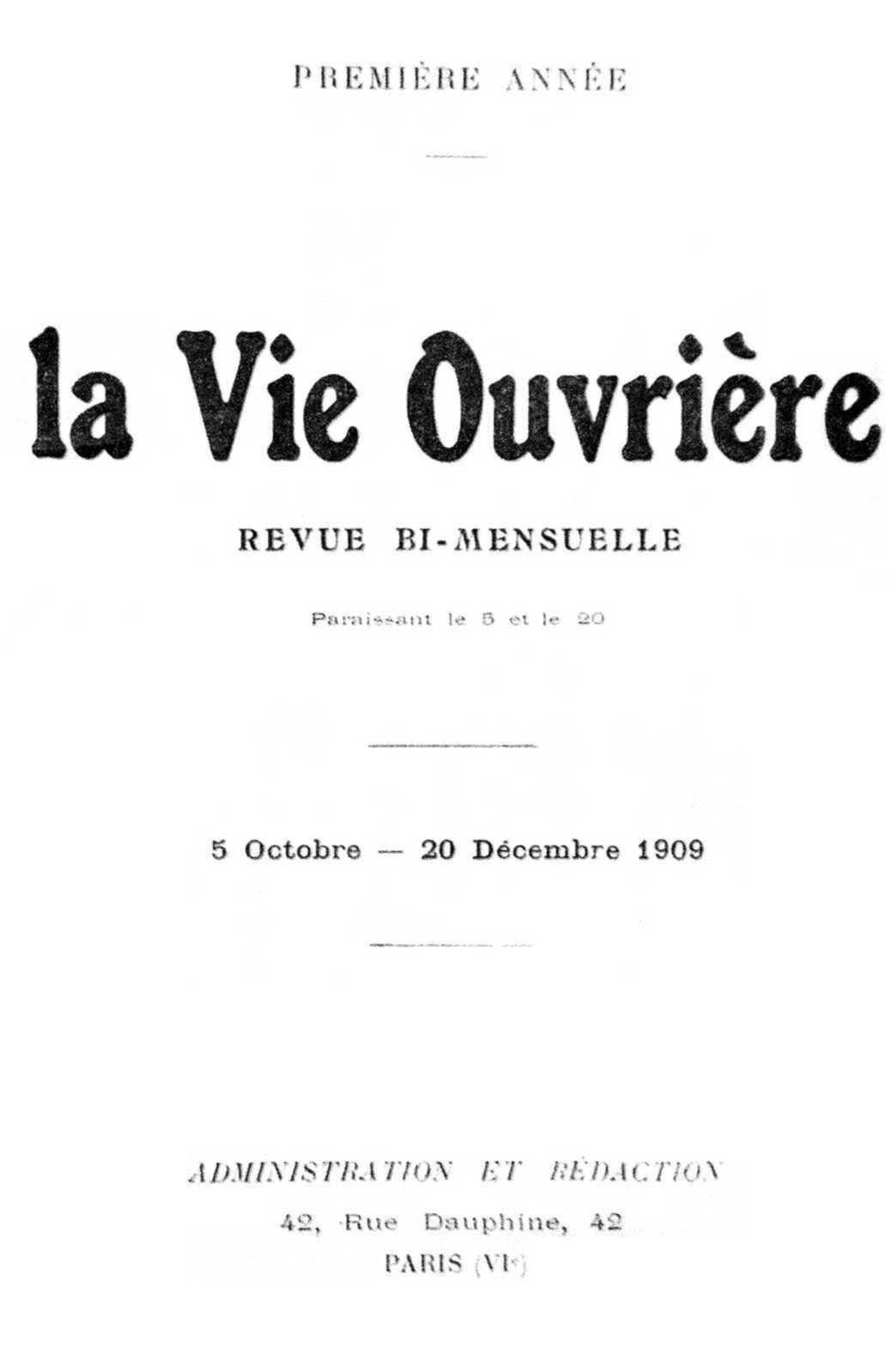 """Portada de """"La Vie Ouvrière"""""""